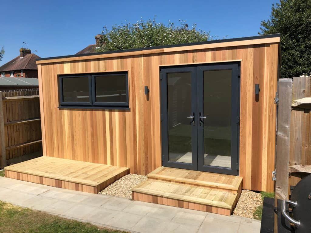 Garden room design with decking