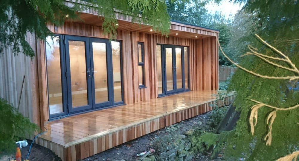 8m x 4m concave contemporary garden room