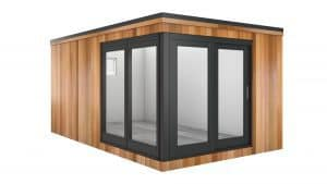 Cube garden room design with corner windows and doors