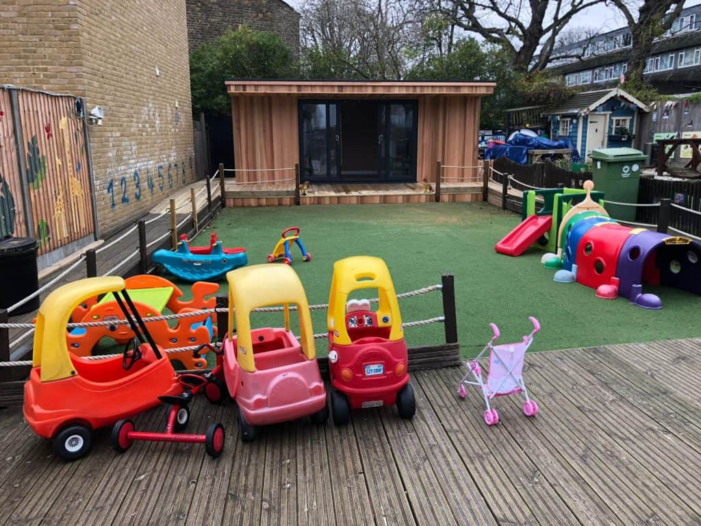 Whole area with decking - Garden Nursery case study from Modern Garden Rooms