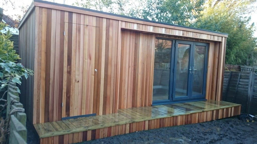 garden office with storage shed for garden tools