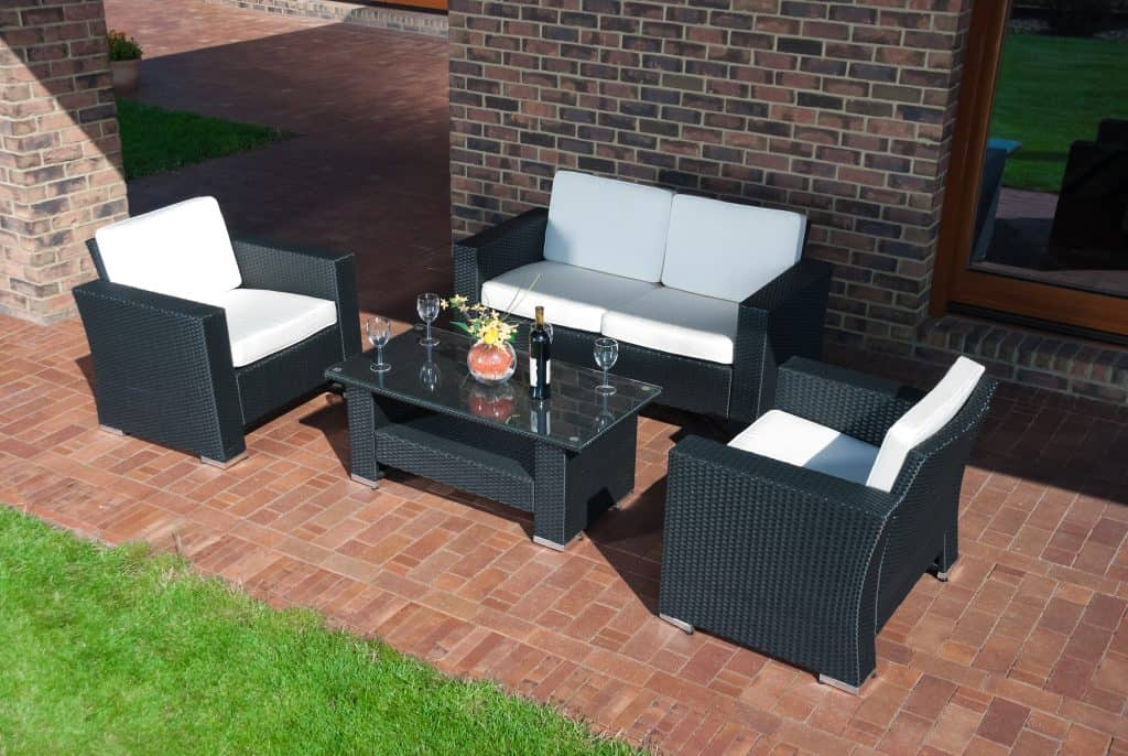 Modern garden furniture on a patio