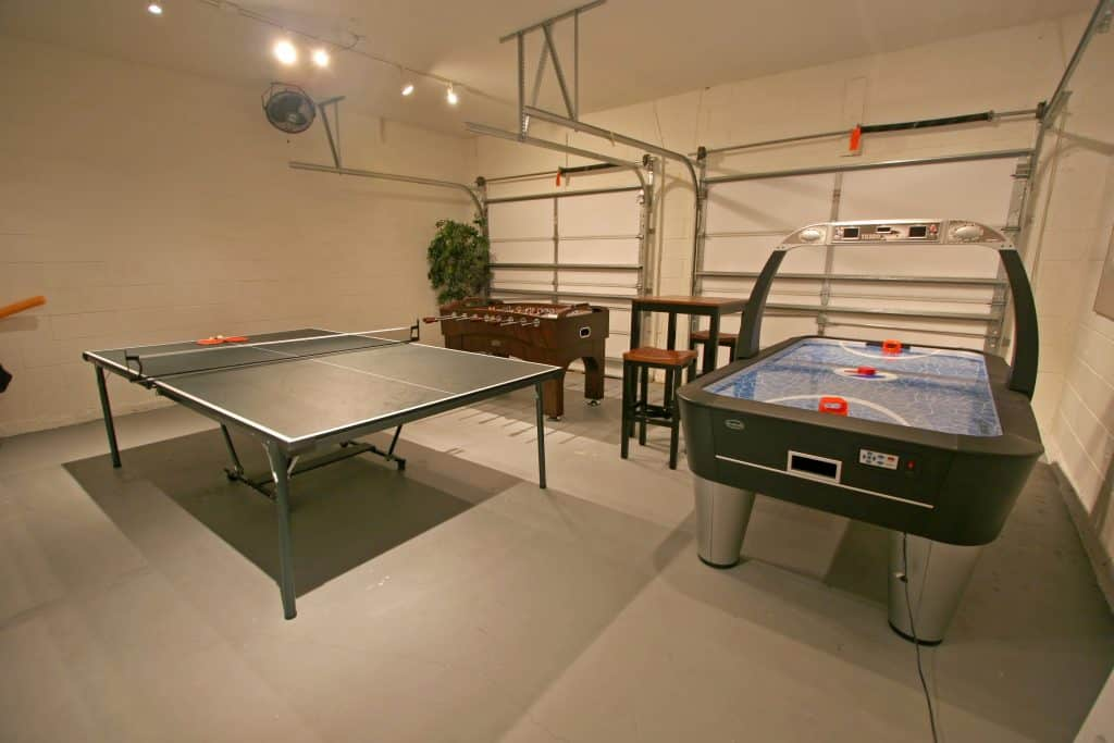 A Games Garden Room with Pool Table, Table Tennis and Foosball.