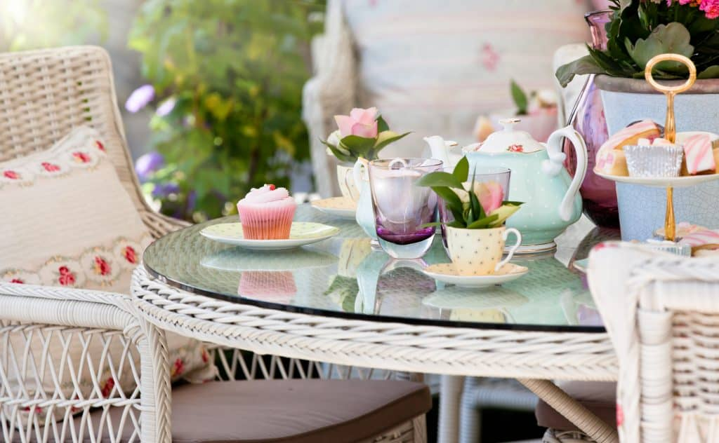 Afternoon tea and cakes in the garden pavilion