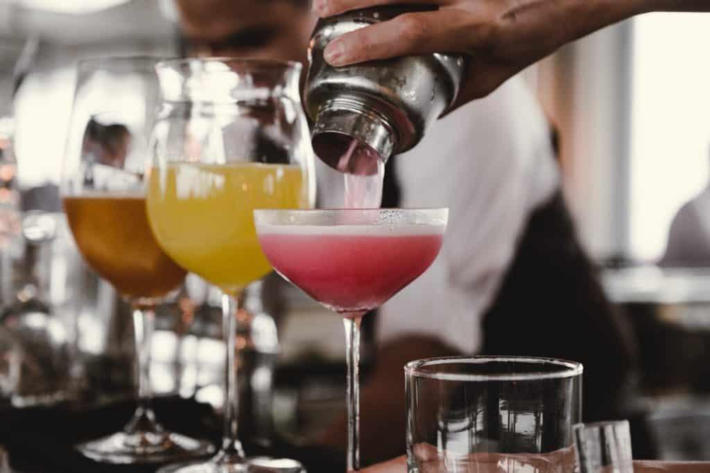cocktails in a wooden garden bar
