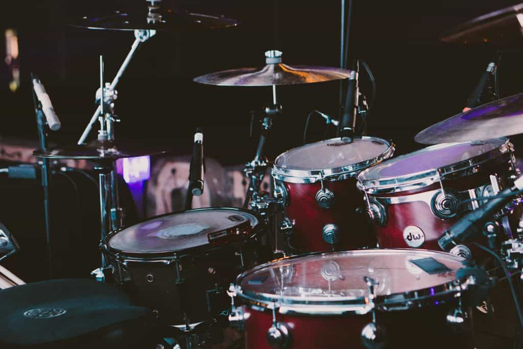 drums in a garden studio